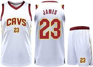 Basketball Clothing Suit Cleveland Cavaliers 23# Lebron James Jersey Sleeveless Vest Sports Shorts Suit Training Competition Casual Sweatshirt,White,2XS