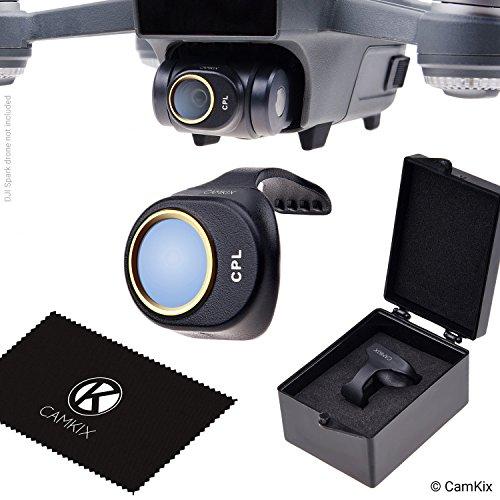 CamKix PL-Filter Kompatibel mit DJI Spark - Mit einem CamKix Polarisationsfilter (PL), einem Filteraufbewahrungsbehälter und einem CamKix Reinigungstuch - Beugt Reflexionen im Wasser/auf Glas vor