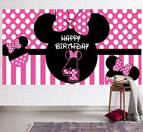 Minnie Mouse Hintergrund zum 4. Geburtstag, Minnie Mouse 4. Geburtstag, Partyzubehör, Minnie Maus 4. Geburtstag, Dekoration für den vierten Geburtstag, Fotografie-Hintergrund (2 x 1 m)
