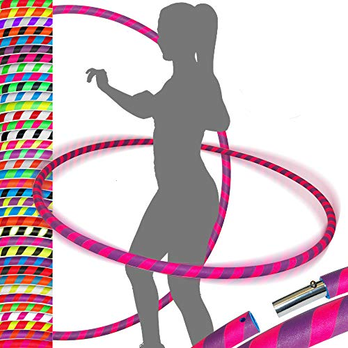 PRO Hula Hoops Reifen für Anfänger und Profis (Ultra-Grip) Faltbarer TRAVEL Hula Hoop ideal für Hoop Dance, Fitness Training, Zirkus, Festivals & Fun! - Größe 100cm/25mm∅, Gewicht 650g (Lila / Rosa)