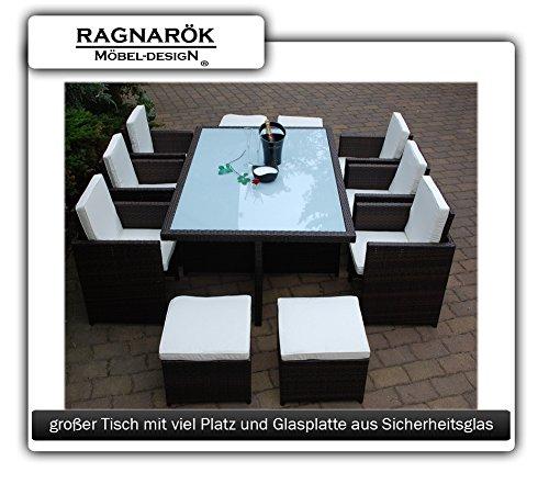 Ragnarök-Möbeldesign PolyRattan Essgruppe DEUTSCHE Marke - EIGNENE Produktion Tisch + 6 Stuhl & 4 Hocker - 8 Jahre GARANTIE - Garten Möbel incl. Glas und Sitzkissen braun Gartenmöbel - 2