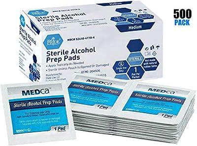MEDca Alcohol Prep Pads, Sterile, Medium, 2-Ply Pack of 500 by MEDca