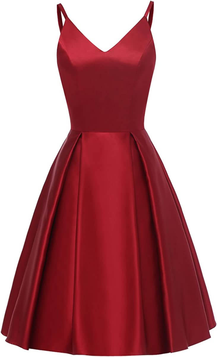 TTYbridal V-Neck Mini Homecoming Dresses Short Satin Prom Cocktail Gown with Pockets HD11