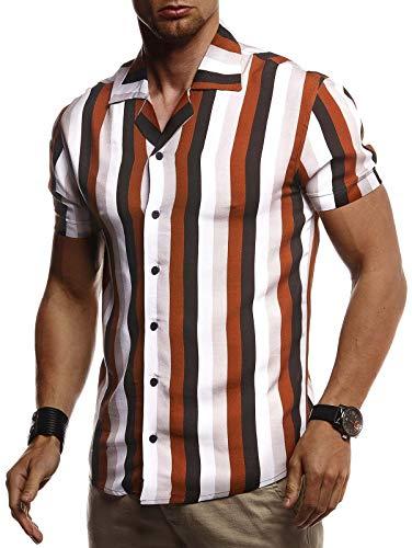 Leif Nelson Herren Hemd Kurzarm Oversize Kentkragen Stylisches Männer Hawaiihemd Stretch Kurzarmhemd Jungen Basic Shirt Freizeit Urlaub Sommerhemd Freizeithemd LN3685 Camel-Ecru Large