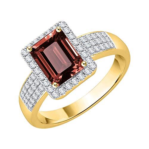 KATARINA Anillo de compromiso de granate de talla esmeralda y diamante en oro de 14 k (1 1/10 cttw, G-H, I2-I3), Metal Gema, diamante granate,