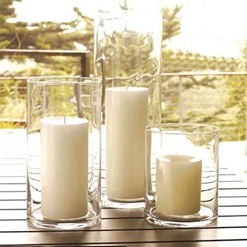 Tenedor de Velas de Vidrio, Soportes de Velas de Huracanes, jarrones de Cilindros, candelabro Transparente de Cristal