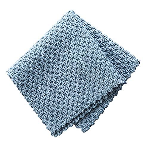 Flystpp Limpieza Paño Hogar Lavado Plato Cocina Limpieza Toalla Cocina Anti-Grasa Limpieza Raps Eficiente Super Absorbent Microfibra (Color : Blue)