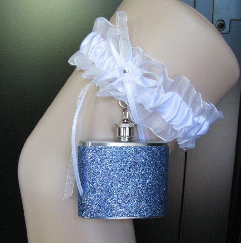 Garter Flask Lace Garter & Light Blue Glitter Stainless Steel Liquor Hip Flask Bridesmaid Bride Wedding Party Gift