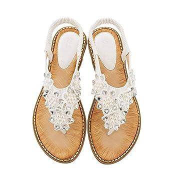 Summer Flat Sandals for Women,Summer Sandals for Women Casual Bohemian Gem Owl Beaded Clip Toe Flip Flops Ankle T-Strap Thong Elastic Walking Flat Shoes White