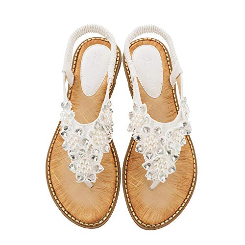 Dizadec Sandals for Women Platform,Women's Elastic Sparkle Flip Flops Summer Beach Thong Flat Sandals Shoes White