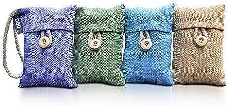 DGQ Natural Bamboo Charcoal Deodorizer Bag-Nature Air Purifier,Air Freshener,3Times The Adsorption Capacity of Normal Active Charcoal (4x100g Bags for Wardrobe Deodorizer)