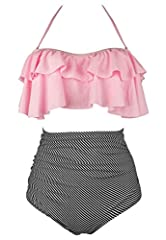 Fast Ship(FBA):Fulfilled by Amazon with two-day Shipping(Ship from USA) Hand Wash Cold, Line Dry;Polyester Spandex Swimsuit Fabric Falbala, adjustable shoulder straps,could be used as strapless style, high-waisted with padding bra Pattern: Retro Chic...