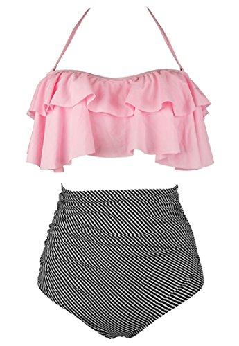 COCOSHIP Light Pink & Black Striped Retro Boho Flounce Falbala High Waist Bikini Set Chic Swimsuit Bathing Suit XXXXL(FBA)