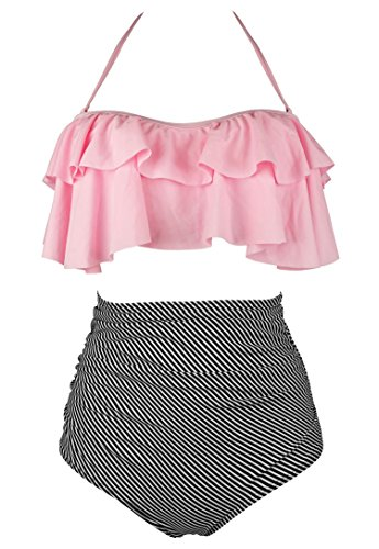 COCOSHIP Light Pink & Black Striped Retro Boho Flounce Falbala High Waist Bikini Set Chic Swimsuit Bathing Suit XXXXL(FBA)