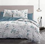 Home Linge Passion - Funda nórdica de 3 Piezas, 100% algodón, 57 Hilos, 2 Personas, 220 x 240 cm, Pompadour Blanco y Azul HP62670