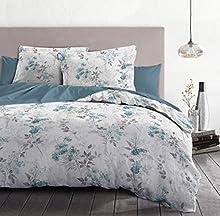 Home Passion | Funda nórdica – 3 Piezas | 100% algodón – 57 Hilos | 2 Personas – 240 x 260 cm | Bombona Blanco y Azul