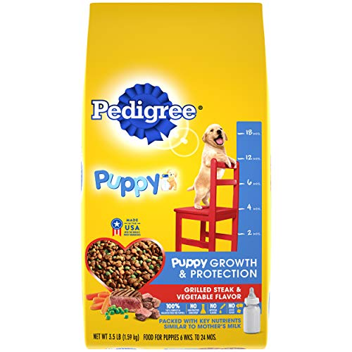 PEDIGREE Puppy Growth & Protection Dry Dog Food Grilled Steak & Vegetable Flavor, 3.5 lb. Bag