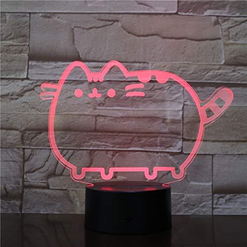 Lumière De Nuit 3D Tactile Interrupteur Kitty Changement Multicolore Bébé Sommeil Maison Éclairage Décoration Lampe Créative