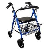 deambulatore leggero pieghevole in alluminio con regolazione in altezza sedile imbottito, dotato di 4 ruote e freni- activ light