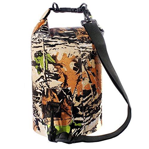 Sacco Dry Bag Borse Impermeabile, Dry Bag Galleggiante può Essere Usato per la Navigazione, Trekking, Kayak, Canoa, Pesca, Rafting, Nuoto, Campeggio, Sci e Snowboard con Omaggio Gratuito di Una Custodia Telefono Impermeabile Universale (Camuffamento 1, 5L)