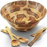FANICHI Acacia Wooden Salad Bowl Set - 12.5' Diameter x 5' Height -Hardwood with Big Salad Bowls 4-Piece Set Perfect for Fruits or Salads (12.5' x 5')