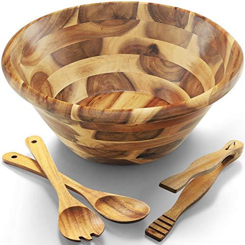 Acacia Wooden Salad Bowl Set