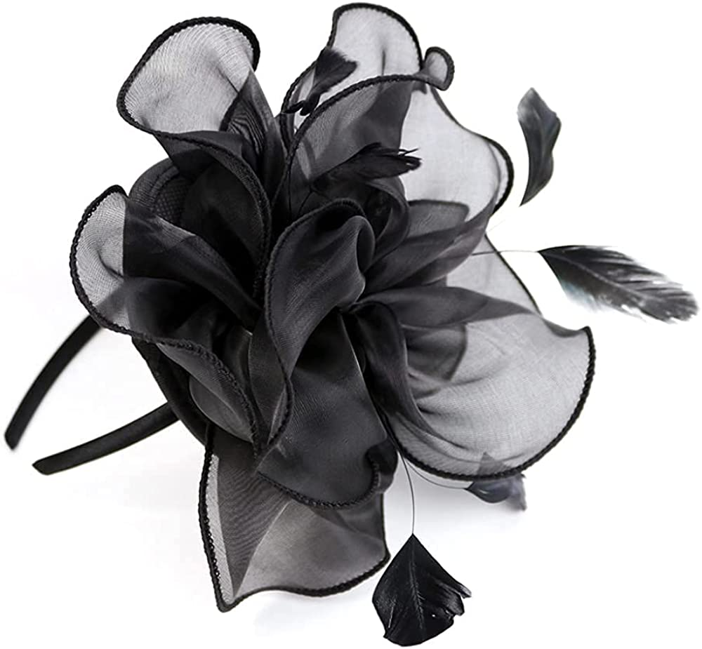 MIQIQAO Fascinators Hat for Women Tea Party Headband Wedding Cocktail Flower Mesh Feathers Hair Clip