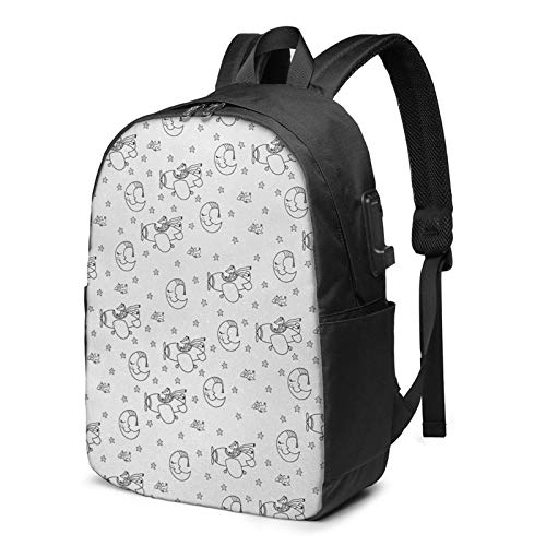 Laptop Backpack with USB Port Night Sleeping Moon Stars, Business Travel Bag, College School Computer Rucksack Bag for Men Women 17 Inch Laptop Notebook