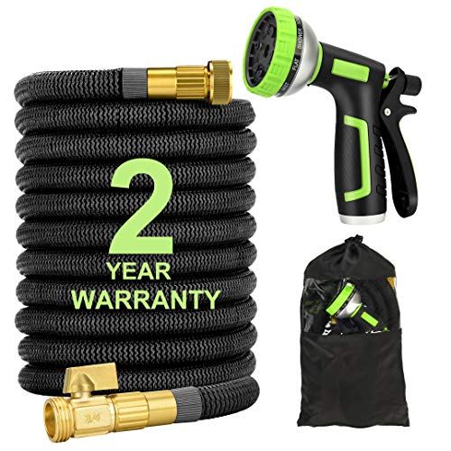 50FT Expandable Garden Water Hose with 10 Pattern Spray Nozzle, Solid Brass Connector, Double Latex Core Expanding Water Hose with Storage Bag