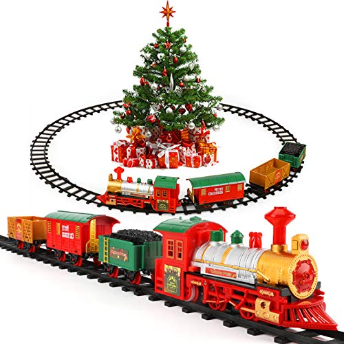 Lucky Doug Christmas Train Toys Set Around Tree for Kids, Electric Train Set with Light & Sounds Include 4 Cars and 10 Tracks, Christmas Trains Sets Gift for 2 3 4 5 6 Years Old Boys Girls Toddlers
