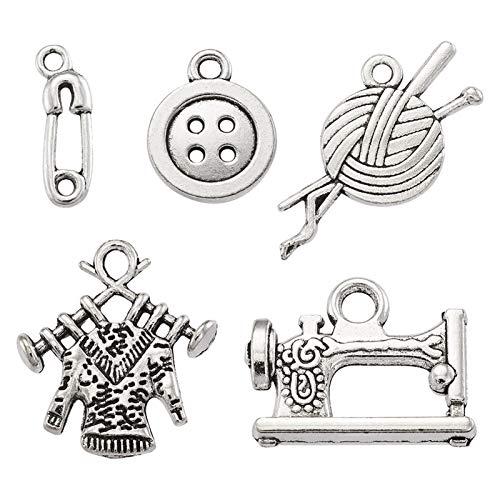 Craftdady 20 colgantes de aleación de plata tibetana para coser tejer, de metal, estilo steampunk, hilo, máquina de coser, botón de 4 agujeros, alfiler de seguridad para hacer joyas