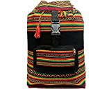 Large Rasta Peruvian Multicolored Bohemian Tribal Print Pattern Lightweight Beach Travel Backpack Bag (Black)