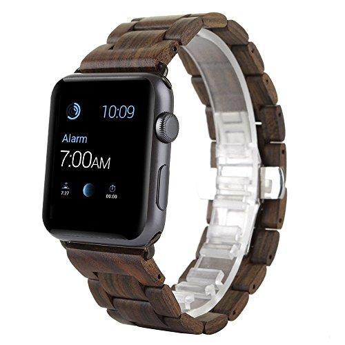 AIYIBEN Herren Holz Uhrenarmband 42mm kompatibel mit Apple Watch Alle Modelle (42MM, Brown)
