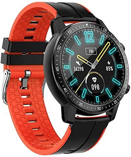Reloj inteligente 24H Frecuencia Cardíaca y Monitoreo del Sueño 1 3 Pulgadas TFT Pantalla Táctil Completa Pulsera 250Mah Batería IP68 Impermeable Multi Modo Deportivo-Naranja