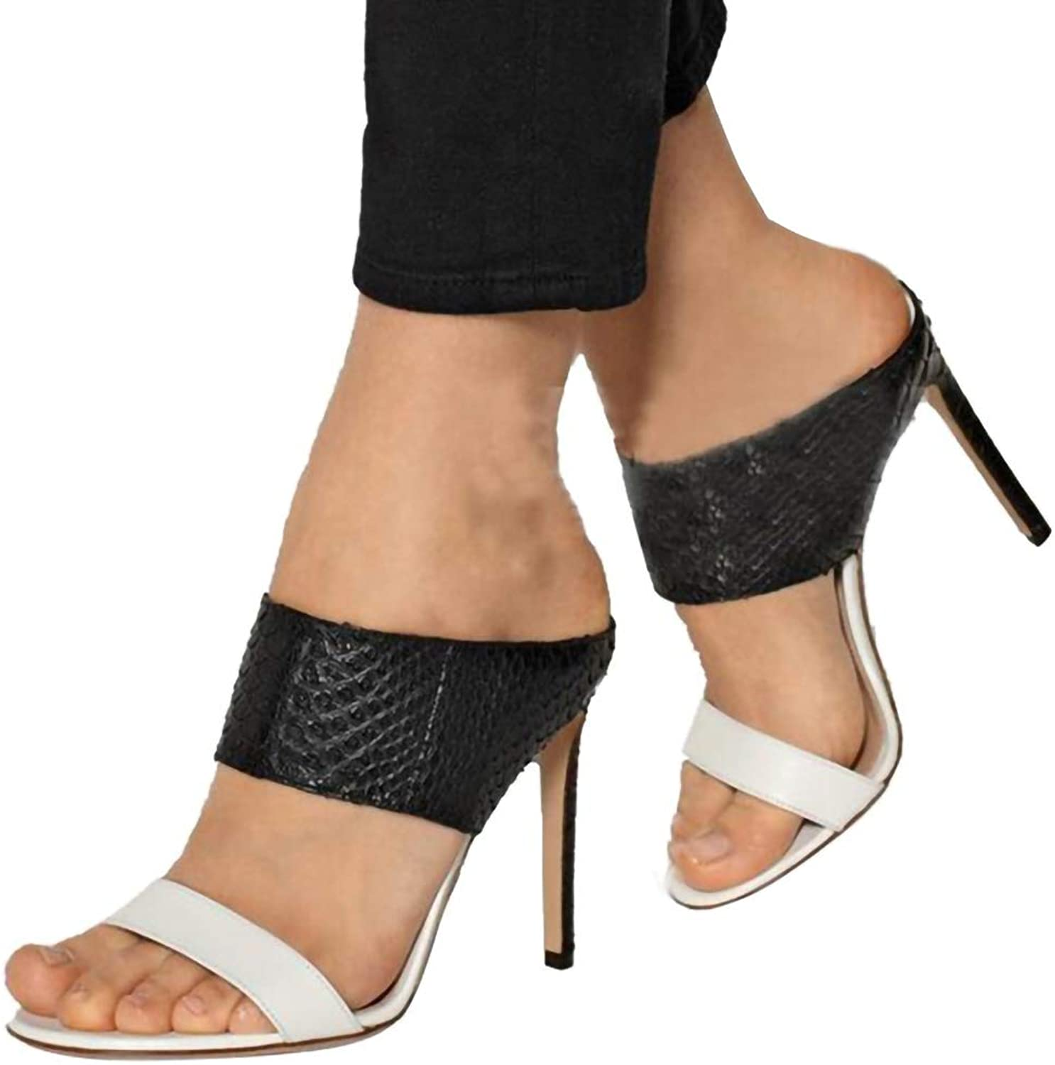 Fashion Women Sandals Slippers, Sexy Thin Heels Sandals Woman Flip Flop Hollow High-Heeled Women shoes Size 35-42,Black,7.5US