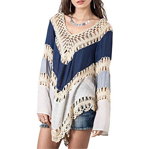 Ai.Moichien Women's Hollow Long Sleeve Bikini Blouse Beach Colorblock Tops Blue One Size