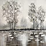 Living Equipment Oil Painting,Abstract Landscape Gray White Trees By River Art Paintings Modern Hand Painted Oil Painting For Living Room Office Hotel Decor Gift,70X70Cm No Frame