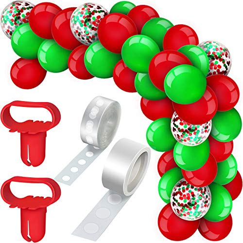 129 Pieces Christmas Balloons Arch Garland Kit, Include Red Green Latex Balloons Confetti Balloons, Balloon Tie Tools, Balloon Strip Tape, Adhesive Dots for Christmas Party (Red, Green)