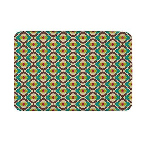 Alfombrilla antideslizante de la vendimia, motivos de arte de diseño Bauhaus maravilloso Funky geométrico minimalista Retro inusual alfombra de piso de baldosas para baño sala de estar alfombra de bañ