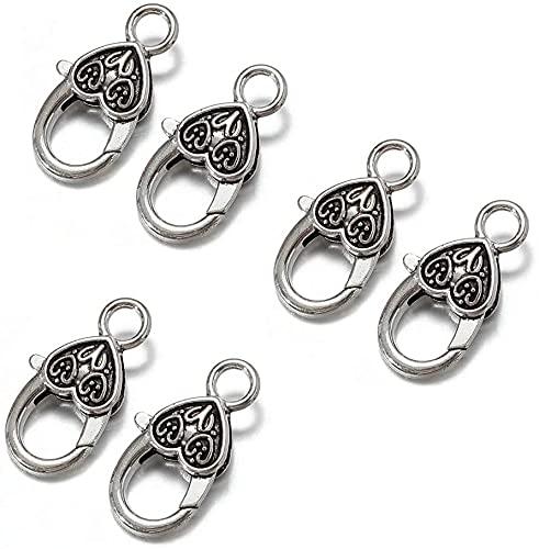 Aragosta - 60 cierres para pulseras de langosta y garras con mosquetón, corazón, joyas, cierre para joyas, para pulseras y collares