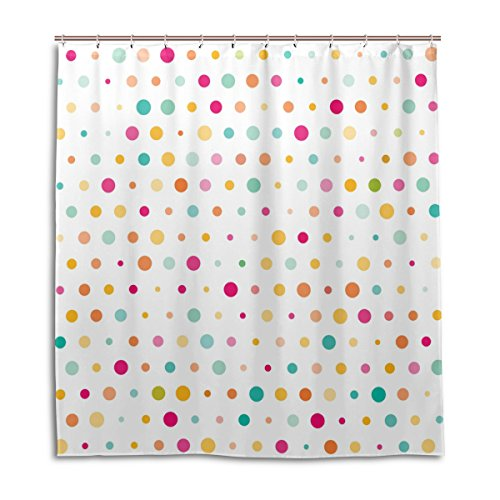 alaza Nette Bunte Punkte Duschvorhang 72 x 72 Inch, schimmelresistent & wasserdicht Polyester Dekoration Badezimmer-Vorhang