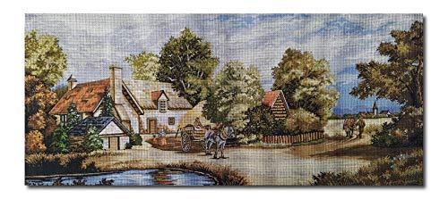 Hudemas Gobelin Stickbild Stickpackung Der Bauernhof halber Kreuzstich 73x32cm inkl Sticktwist cod.223
