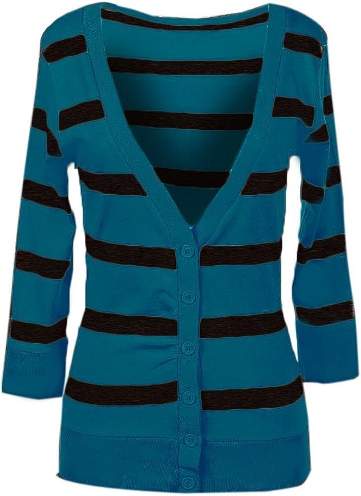 Zenana Striped V-Neck Button up Three-Quarter-Length Sleeves Cardigan Top