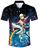 ALISISTER Hawaiian Shirt Mens Tropical Button Down Shirts Ugly Dolphin Galaxy Rainbow Blouse Short Sleeve Button Dress Aloha Vacation Beach Suit L