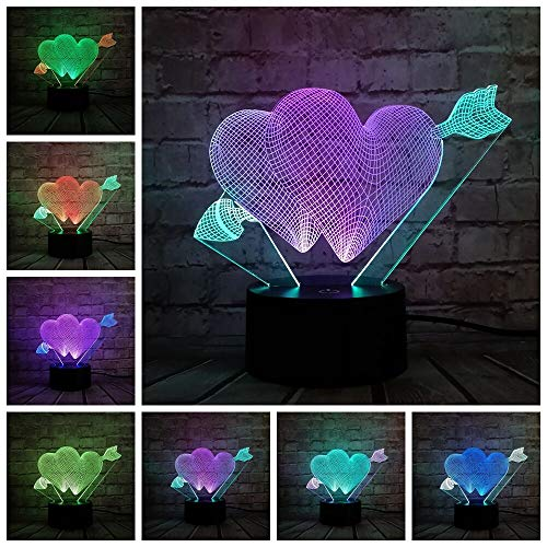 LIkaxyd 3D Ilusión Óptica Lámpara Led Dulce Amor Flecha Led Usb Luces Nocturnas Ilusión Lámpara De Mesa Táctil Luces Para La Decoración Del Partido Presentes De Cumpleaños