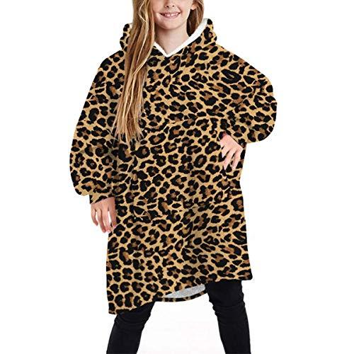 Manta de gran tamaño con capucha y estampado de leopardo, vestido de bolsillo de canguro para mujeres, hombres, niños, manta con capucha