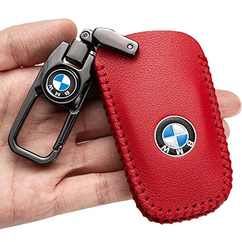 Car Key Case - Genuine Leather Protector Keychain suit for BMW X3 X4 GT3 GT5 1 2 3 4 5 Series key fob cover key holder, 4 button Smart Key