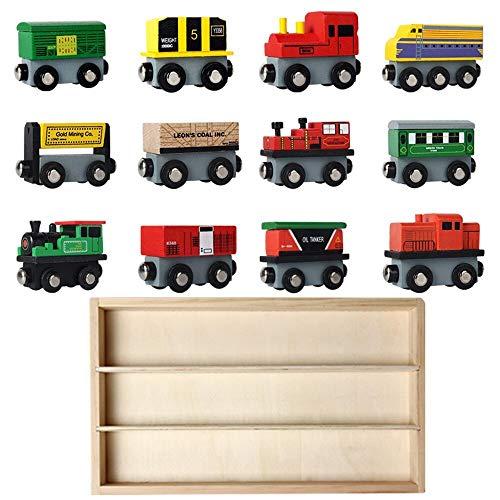 E-More Juego de Juguetes con Forma de Coche de Madera - Juego de 12 vehículos para niños de 3 años en adelante - Adecuado para los ferrocarriles de Madera