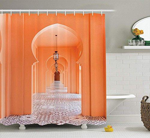 N/ Arabischer Duschvorhang von marokkanischer Gehweg mit asiatischen Motiven & arabischen, kunstvollen Elementen, visuelles orientalisches Foto, Stoff mit Haken, Lachs, 183 x 183 cm