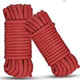 Soft Cotton Rope, 2 Pcs 32 Feet 10 Meter Multipurpose Durable Long Rope. Soft Tying Rope Cord(Red-2)